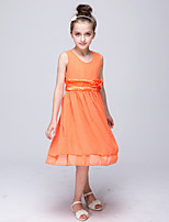 Girl's Blue / Orange / Purple / Red Dress,Solid Polyester Summer