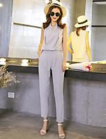 Wake Up® Women's Mid Rise Legging Gray Casual Pants-LTK16005