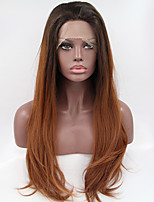 Sylvia Synthetic Lace front Wig Black Roots Brown Hair Ombre Hair Heat Resistant Long Natural Wave Synthetic Wigs