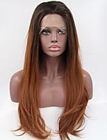 Sylvia синтетический парик фронта шнурка черные корни каштановые волосы ломбера волосы жаростойкие длинные естественная волна