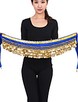 Belly Dance Hip Scarves Women's Performance Chinlon Beading / Gold Coins 1 PieceBlack /