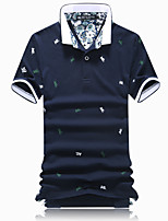 Men's Personality Slim Embroidery 100% Cotton Short Sleeved Polo,Cotton Casual Floral