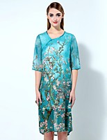 Boutique S Women's Going out Sophisticated Loose Dress,Floral Asymmetrical Knee-length ½ Length Sleeve Blue Linen