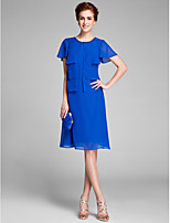 Lanting Bride A-line Mother of the Bride Dress Knee-length Short Sleeve Chiffon with Pearl Detailing / Ruffles