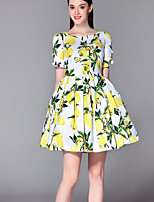 Boutique S Going out Sophisticated A Line Dress,Print Round Neck Knee-length Short Sleeve Yellow Polyester Summer