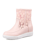 Women's Shoes Fall / Winter Fashion Boots / Round Toe Boots Dress Wedge Heel Others Pink / White