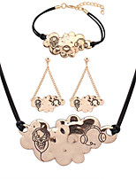 European Style Fashion Simple Metal Cloud Necklace Bracelet Earring Set