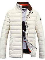 Men's Regular Padded Coat,PU Solid Long Sleeve