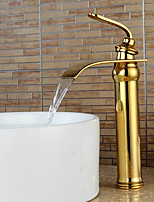 High Quality Ti-PVD Waterfall Bathroom Sink Faucet -Gold