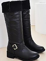 Women's Shoes PU Winter Motorcycle Boots Boots Outdoor Low Heel Buckle Black / Brown