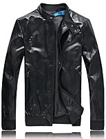 Men's Long Sleeve Casual Jacket,PU Solid Black