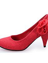 Damen-High Heels-Lässig-Glanz-Blockabsatz-Absätze-Rot / Silber / Gold