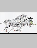 Pintada a mano Animal Modern,Un Panel Lienzos Pintura al óleo pintada a colgar