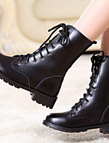 Boots Spring / Fall Combat Boots PU Casual Chunky Heel Lace-up Black