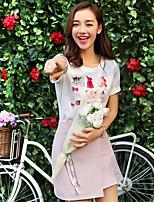 Wake Up® Women's Round Neck Short Sleeve Shirt & Blouse Pink-XFS16153