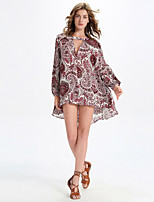 Women's Casual/Daily Simple Summer T-shirt,Paisley V Neck Long Sleeve Red Rayon / Polyester Thin