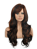 Top Quality Ombre Black Brown Color Wig Long Size Wavy Curly Hair Synthetic Wig