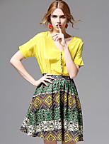 AFOLD® Women's V Neck Short Sleeve Knee-length Dress-5655