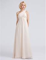 Lanting Bride Floor-length Chiffon Bridesmaid Dress Sheath / Column One Shoulder with Criss Cross / Ruching