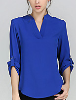 Women's Solid Blue / White Blouse,V Neck Long Sleeve