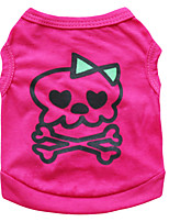 Chat / Chien T-shirt Rouge Rose Eté Crânes Mode-Pething®, Dog Clothes / Dog Clothing