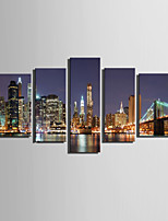E-HOME® Stretched Canvas Art Ding Neon Lights Under The City Night Scene Decoration Painting  Set Of 5