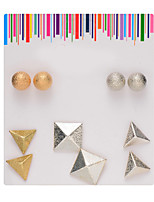 Alloy Round Ball/3D Triangle Shape Pierced Stud Earrings Set Jewelry(5Pair/Set)casual