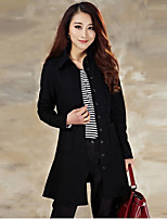 Women's Casual/Daily Simple Trench Coat,Solid Shirt Collar Long Sleeve Fall Blue / Black Wool Medium
