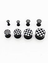 8pcs Black and white grid ear suit anti allergy fashion personality ear 3-14mm  tool Puncture of the ear Anti allergy