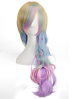 arc en ciel coloré rayonne long corps de la mode des perruques de lolita de perruques d'onde de bonbons
