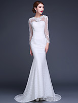 Trumpet / Mermaid Wedding Dress Court Train Jewel Lace with Appliques