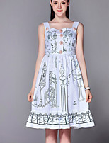 Boutique S  Casual/Daily Cute A Line Dress,Print Square Neck Knee-length Sleeveless White Polyester Summer