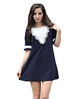 Women's Simple / Street chic Preppy Style Patchwork Lace Shift / Chiffon Plus Size Dress,V Neck Above Knee