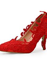 Mujer-Tacón Stiletto-TaconesBoda / Vestido / Fiesta y Noche-Seda-Rojo