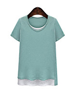 Women's Casual/Daily Simple Summer T-shirt,Patchwork Round Neck Short Sleeve Blue / Green Cotton Medium