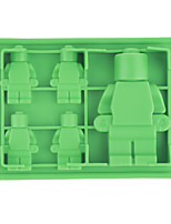 (Random color)1Pc Silicone Candy  & Ice Cube Trays Building Bricks and Little Man Robot Bar Mold Shapes