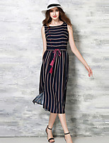 Women's Vintage / Simple Striped Shift Dress,Round Neck Midi Polyester