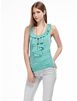 Women's Going out Simple Summer T-shirt,Solid Strap Sleeveless Red / White / Green Polyester / Spandex Thin