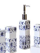 azul patrón de flores de baño de cinco piezas caja de juego +
