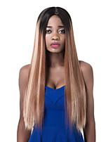 European long Sythetic Black Roots Mixed Brown Straight Party Wig For Women