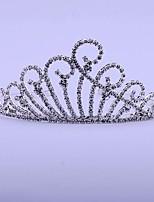 Vrouwen Bergkristal / Licht Metaal Helm-Bruiloft Tiara's 1 Stuk Zilver Rond