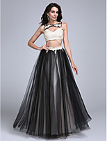 Formal Evening Dress - Two Pieces A-line Bateau Floor-length Lace / Tulle with Appliques / Beading