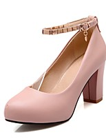 Women's Shoes PU Summer/ Round Toe Heels Office & Career / Casual Chunky Heel Buckle Black / Blue / Pink / Beige