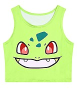 Inspired by Pocket Monster Ash Ketchum Anime Cosplay Costumes Cosplay Tops/Bottoms Print Green Sleeveless Vest