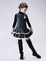 Girl's Casual/Daily Solid Dress,Cotton Spring / Fall Green