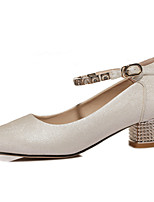 Women's Shoes Synthetic Spring / Fall / Winter Heels Heels Office & Career / Casual Chunky Heel Sparkling Glitter Beige