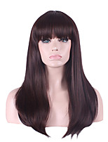 Best-selling Europe And The United States  A Wig Dark Brown Neat Bang Natural 26 Inch Straight Long Hair