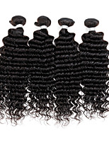 4 Pcs Lot Peruvian Deep Curly Virgin Hair Extensions Black Color Cheap Human Hair Weave Bundles
