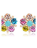 Earring Flower Jewelry Women Fashion Wedding / Party / Daily / Casual Alloy / Rhinestone / Gold Plated 1 pair Gold