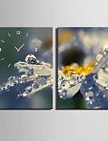 Rectangulaire Moderne/Contemporain Horloge murale,Autres Toile35X50cm(14inchx20inch)x2pcs/ 40 x 60cm(16inchx24inch)x2pcs/ 50 x
